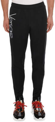 Versace Men's Tapered Sweatpants with Logo Print