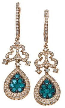 EFFY Bella Bleu Blue Diamond Earrings in 14 Kt. Rose Gold