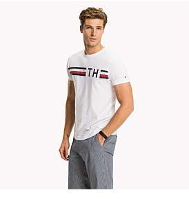Tommy Hilfiger Striped Logo Graphic Tee