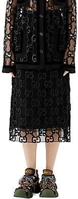 Gucci Women's GG Leather Macramé Skirt