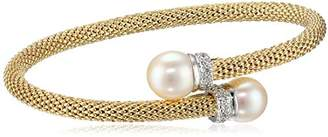 Women's 14k Gold Plated Sterling Silver Freshwater Pearl and Cz Accent Popcorn Mesh Bangle Bracelet