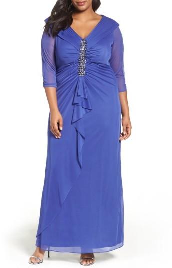 Alex EveningsPlus Size Women's Alex Evenings Embellished Portrait Collar Gown