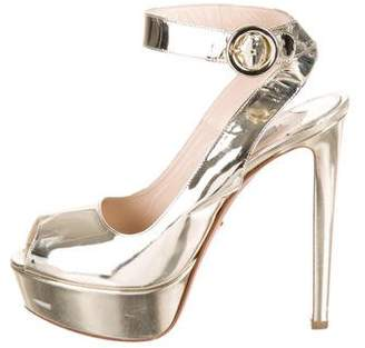 Prada Metallic Peep-Toe Pumps