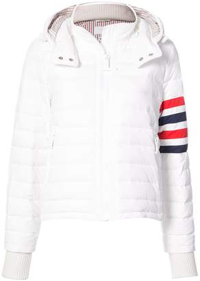 Thom Browne Downfill Ski Jacket With 4-Bar Stripe & Removable Hood In White Matte Nylon Poplin