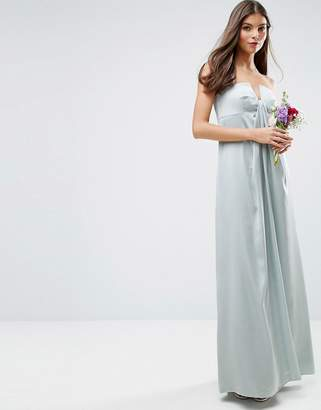 Asos Design Bridesmaid Bandeau Fold Front Maxi Dress