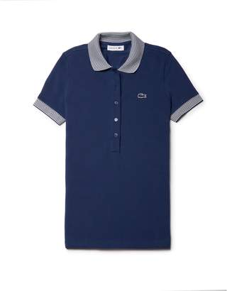 Lacoste Women's Slim Fit Contrast Accents Stretch Pique Polo
