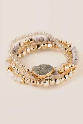 francesca's Selda Druzy Beaded Bracelet Set - Ivory