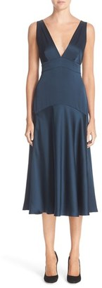 Women's Nordstrom Signature And Caroline Issa Double V-Neck Hammered Silk Dress $799 thestylecure.com