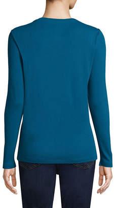 ST. JOHN'S BAY Long Sleeve V- Neck T-Shirt - Tall