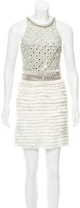 Amen Embellished Fringe Cocktail Dress