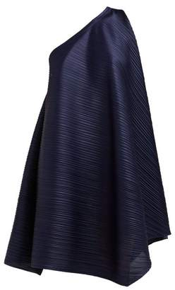 Pleats Please Issey Miyake One Shoulder Tech Pleated Dress - Womens - Navy