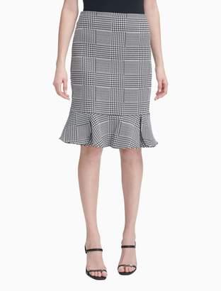 c84659b0b Calvin Klein Houndstooth Flared Ruffle Hem Pencil Skirt