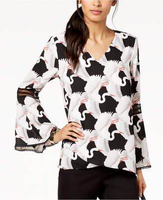 Alfani Printed Poet-Sleeve Crossover Top, Created for Macy's
