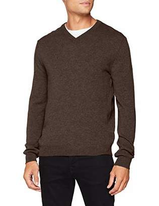 Benetton Men's V Neck Sweater L/S Jumper,Large