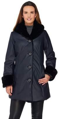 Dennis Basso Faux Leather Coat with Faux Fur Lining & Trim
