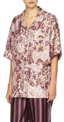 Burberry Floral-Print Mulberry Silk Shirt