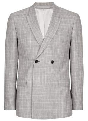 Topman Mens Grey Gray Check Linen Blend Skinny Fit Suit Jacket