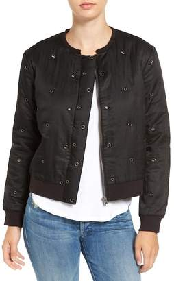 Velvet by Graham & Spencer Cotton & Silk Grommet Bomber Jacket
