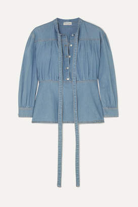 Sonia Rykiel Cotton-blend Chambray Blouse - Blue