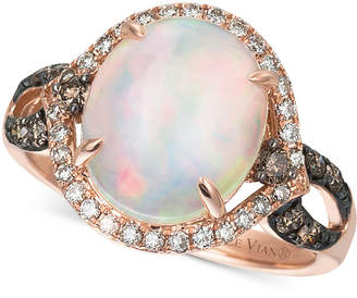 Le Vian Chocolatier® Opal (2-1/3 ct. t.w.), Chocolate Diamonds® and Vanilla Diamonds® (1/2 ct. t.w.) Ring in 14k Rose Gold, Only at Macy's $3,400 thestylecure.com