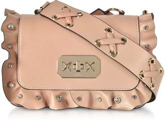 RED Valentino Nude Leather Small Ruffle Shoulder Bag