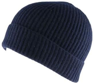 Black Navy Cashmere Beanie Hat