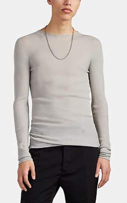 Rick Owens Men's Rib-Knit Wool Crewneck Sweater - White