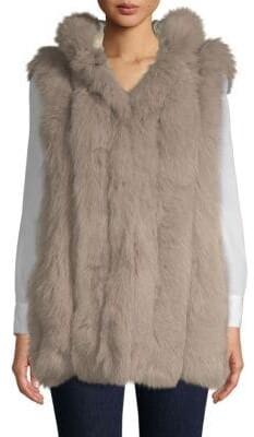 Dyed Rabbit Fur-Trimmed & Dyed Fox Fur Vest