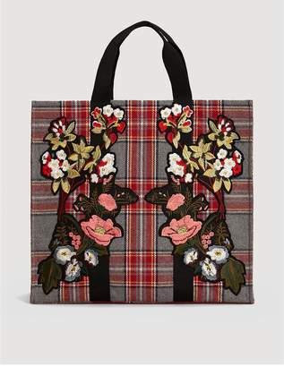 MANGO Jardin Floral Embroidered Shopper Bag - Grey