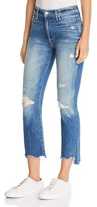 Mother The Insider Chewed-Hem Cropped Flared Jeans in Better When It's Wrong