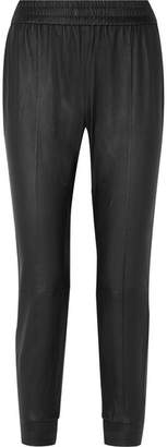 SPRWMN - Cropped Leather Track Pants - Black