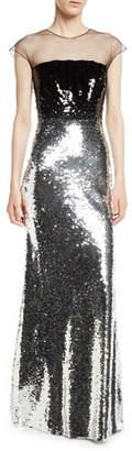 Sachin + Babi Dija Two-Tone Sequin Illusion Gown