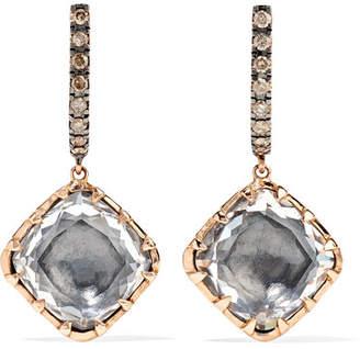 Caprice Larkspur & Hawk Cushion 14-karat Rose Gold, Diamond And Quartz Earrings - one size