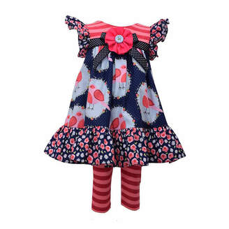 Bonnie Jean 2-pc.Short Sleeve Floral Birds Legging Set-Baby Girls