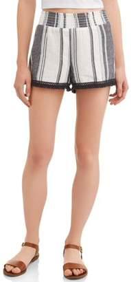 No Boundaries Juniors' striped fringe hem linen short