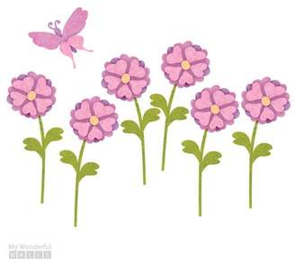 My Wonderful Walls 6 Heart Flowers and 1 Butterfly Wall Decal Set