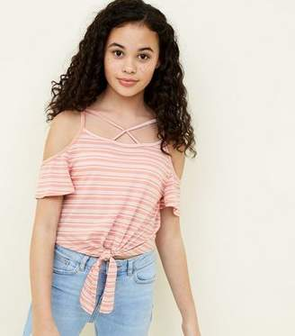 New Look Teens Orange Stripe Lattice Front Cold Shoulder Top