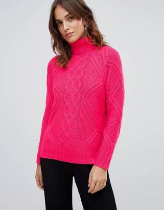 Oasis cable knit sweater in bright pink