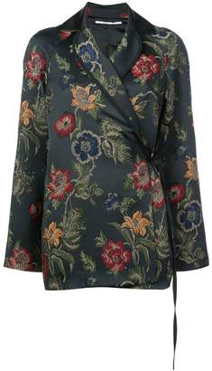 Rosetta Getty floral embroidered wrap blazer