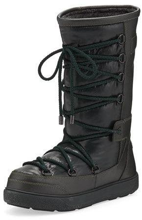 Moncler Moncler Laetitia Leather Lace-Up Boot, Black