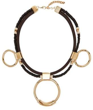 Chloé - Sawyer Leather, Bead And Brass Hoop Necklace - Womens - Black