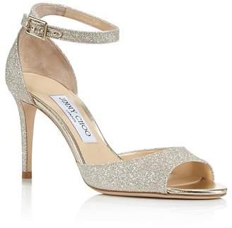 Jimmy Choo Women's Annie 85 Glittered Suede High-Heel Ankle Strap Sandals