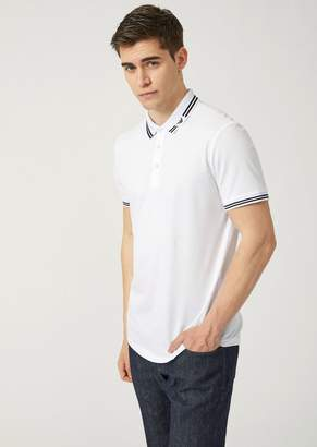 Emporio Armani Pique Polo With Logo Collar