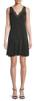 BCBGMAXAZRIA Lace-Trim Godet Dress