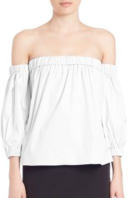 MILLY Off-The-Shoulder Blouse $295 thestylecure.com