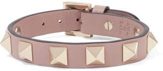 Valentino Garavani The Rockstud Leather And Gold-tone Bracelet - Blush
