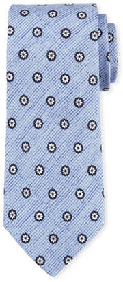Canali Printed Foulard Silk Tie, Blue