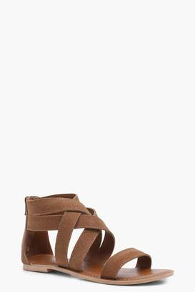 boohoo Boutique Multi Strap Gladiator Suede Sandals