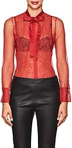 Valentino WOMEN'S SHEER SWISS DOT BLOUSE - RED SIZE 38 00505057045757