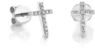 Sydney Evan 14ct White Gold Diamond Cross Earrings